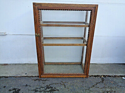 "Vintage Quartersawn Oak & Glass 36"" Tall Counter Top Display Case, Needs Shelves"