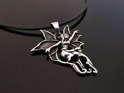 "Solid 925 Sterling Silver 37mm x 30mm 3D Fairy 7g Pendant & 18"" Leather Necklace"