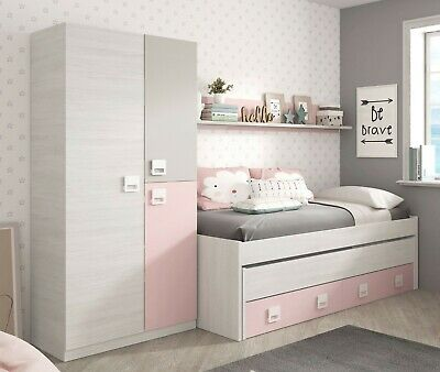 Pack Cama Nido Estante y Armario muebles juvenil color rosa y blanco alpes