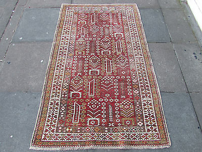 Antique Traditional Hand Made Caucasian Red Pink wool Oriental Rug 171x105cm