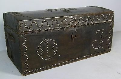 Georgian Leather & Brass Stud Carriage Travelling Trunk Chest