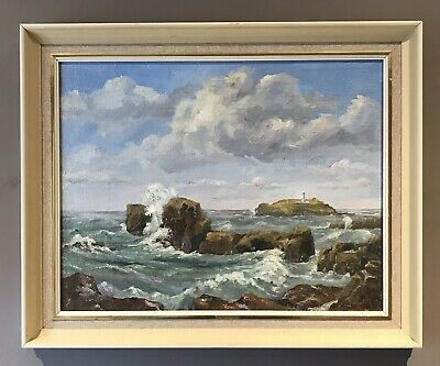 Original Art Oil On Board Painting Of Lighthouse Godrevy Cornwall By Ray Hallett