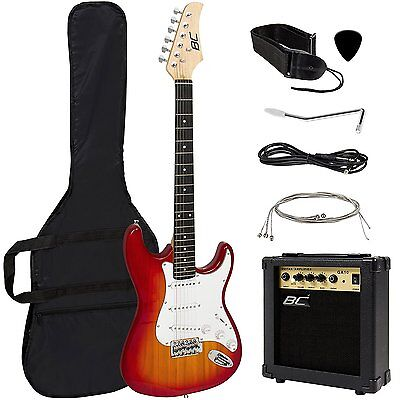 Full Size Sunburst Electric Guitar w/Amp, Case& Accessories Package -Entry Level