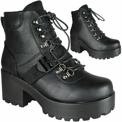 0540989f9383 Womens Ankle Chunky Ladies Lace Up Goth Punk High Heel Platform Shoes Boots  Size