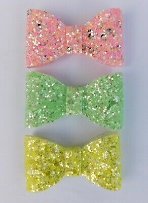 Chunky Glitter Hair Bow Bobble Elastic Brooch Pin Badge Pink Yellow Green