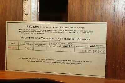 Antique 1936 Southern Bell Telephone Telegraph Pay Stub Receipt
