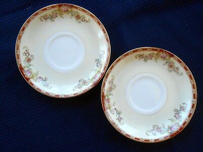 Grace China Japan Ogden Red Band,Pink Floral, Two TEA CUP SAUCERS~Lot of 2