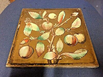 """Victorian Minton 10"""" Tiles Hand Painted Camm Brothers 1870-1880 Rare WEST YORKS"""