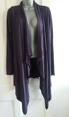 Marks and Spencer maternity purple long waterfall front cardigan top size 12