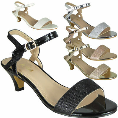 Womens Peeptoe Sandals Heels Ladies Wedding Bridesmaid Bridal Party Shoes Size