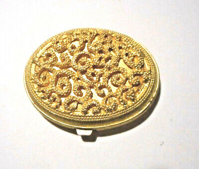 Vintage Vivian Woodard gold tone compact with mirror, heavy from 1960's