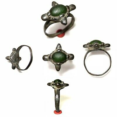 Ancient 9th-10th Century Viking Ring with Green Stone. A truly rare beauty!!!