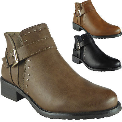 Ladies Ankle Boots Womens Chelsea Booties Studs Buckle Strap Low Heel Shoes Size