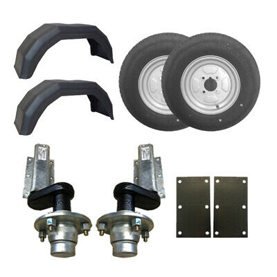 "550Kg Knott Trailer Suspension Units 145 x 10"" Wheels Mudguards Mounting Plates"