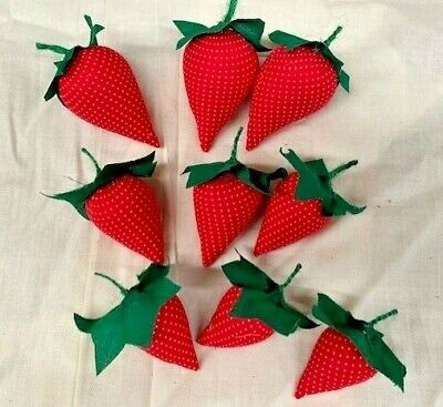 Primitive/Farmhouse/Bowl Fillers/Red Strawberries/Set of 9
