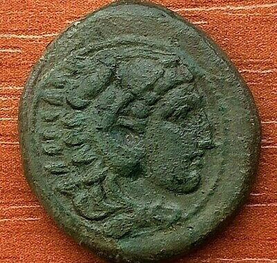 Alexander III the Great 336-323 BC AE20 Herakles & Bow, Club Ancient Greek Coin