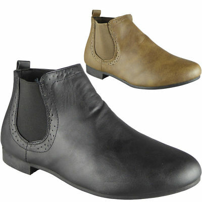 New Womens Chelsea Ankle Boots Ladies Zip Office Work Low Heel Casual Shoes Size
