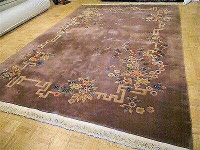 10x14 CHINESE RUG VINTAGE ART DECO NICHOLS AUTHENTIC HAND-MADE ORIENTAL RUG 1960