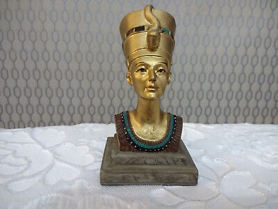 Egyptian Collectable Queen Nefertiti Gold Color Figurine Resin Small Bust