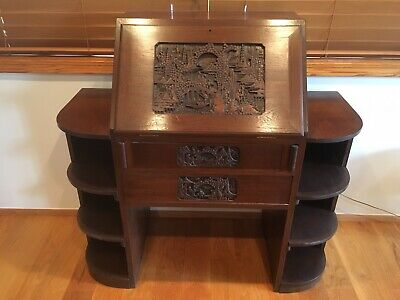 Antique Asian hand-carved wooden desk, from Singapore