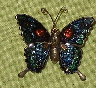 Vintage Pin Enamel Butterfly Signed Interpur Taiwan Clasp Secure