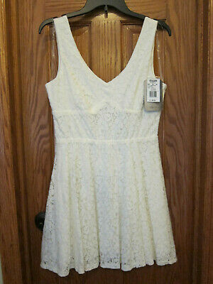 Lily Rose Junior's Ivory White Lace Dress Large Fit & Flare Sleeveless New