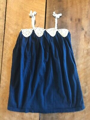 Baby Gap Girls Size 3T Dress Navy Blue Off White Crocheted Trim Bows