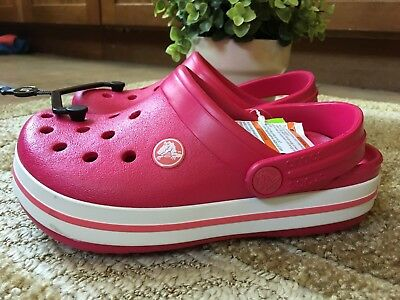 NWT! Crocs Crocband Kids' Clogs Shoes Size 1 Heel Strap Raspberry White Relaxed
