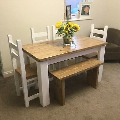Rustic Farmhouse Shabby Chic Dining Table 4 Chairs And Bench 375 00 Picclick Uk