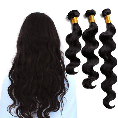 10A Body Wave 3 Bundle Raw Virgin Real Human Hair Weft Brazilian Curly 20 22 24""