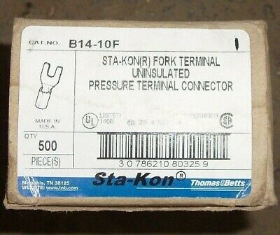 Thomas & Betts B14-10F Fork Terminal Uninsulated (500Pc)