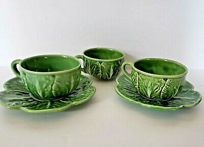 Bordallo Pinheiro Green Cabbage Flat Coffee Tea Set Cup & Saucer of 2 Majolica