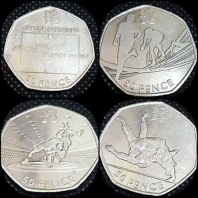 London Olympics 50p Coins Football-Judo- Triathlon-Wrestling or Full Set 2011