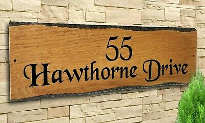 Personalized Oak Carved  Wooden Home House Name Sign Plaque Outdoor Many Sizes