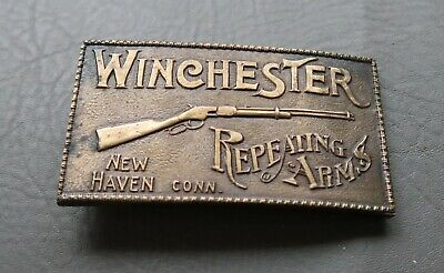 Vtg Winchester Repeating Arms Brass Belt Buckle