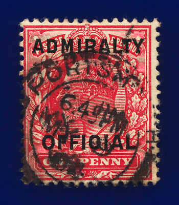 1903 SGo108 1d Scarlet Admiralty Official Mo37 Portsmouth MY 9 04 Cat £29 chbk