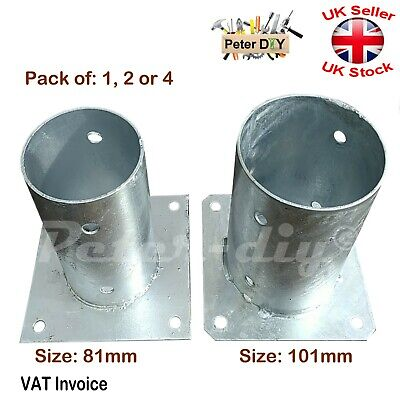 Heavy Duty Galvanised Bolt Down CIRCULAR Post Fence Foot 81or101mm Pack of:1/2/4