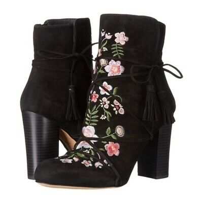 29861bcc0 Sam Edelman Winnie Black Suede Ankle Boots Sz 6.5 Floral Embroidered NWOT