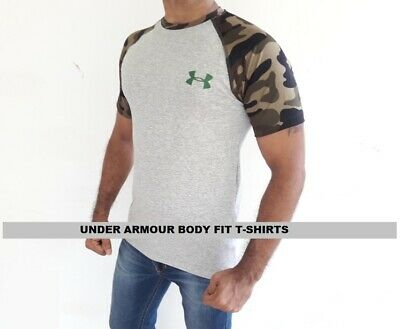 Under Armour Camo T-Shirts Mens Short Sleeve Body-Fit Crew Neck Export Quality