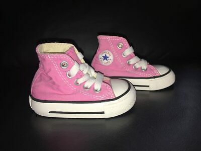 ecf169b94fcc Infant Baby Girls Converse All Star Pink High Top Tennis Shoes Sneakers Sz  2C