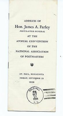 50th UNITED STATES POSTMASTER GENERAL JAMES FARLEY ADDRESS AT ANNUAL CONVENTION