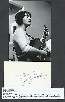 Folk And Pop Singer And Songwriter Judy Collins Signed Card With Picture