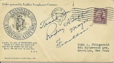Mayor Of Franklin Hew Hampshire Rodney Griffen Signed Daniel Webster Stamp Cover