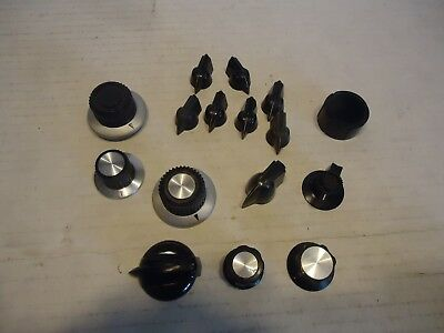 16pc lot used assorted control knobs round ampifer guitar electronic radio craft