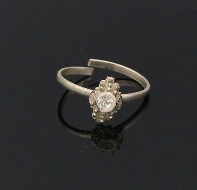 Vintage Handcrafted Fabulous Cz Stone Toe Ring Old Silver Antique Jewelry Tr-34
