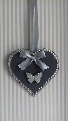 White /& Grey Wooden Hanging Heart Decoration Ornament Any Colours