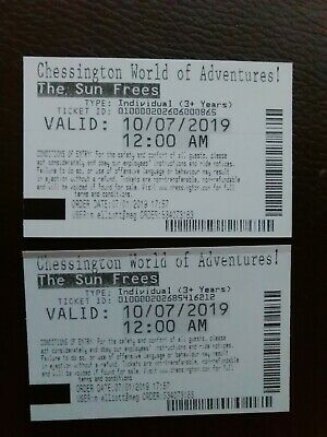 chessington world of adventures tickets 10th July 2019 X2