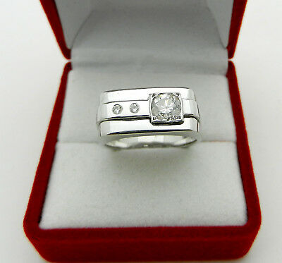 Men's Solid 14k White Gold Real Diamond 0.55 tcw Pinky  Ring Band size 7