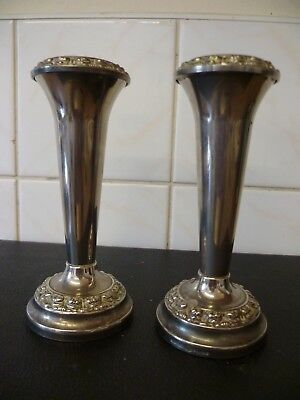 Two Viintage, Ornate Silver Plated Bud Vases, E.p.n.s. Specimen Vases 'Ianthe'