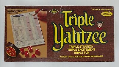 Vintage Triple Yahtzee Dice Game E.S. Lowe 1972 No 928 Complete Game Board Toys